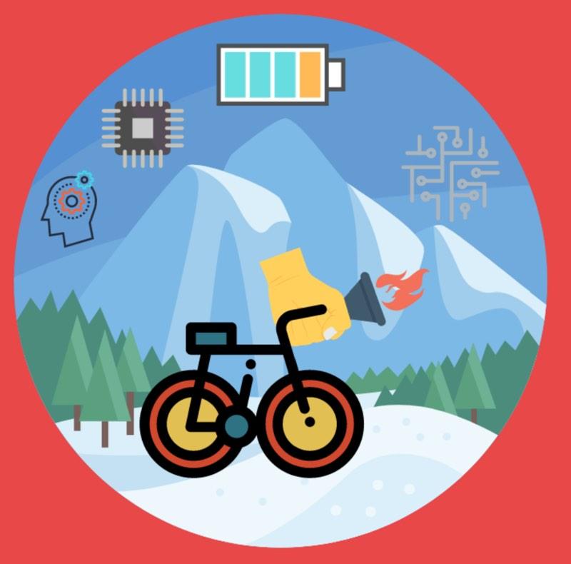 """Illustrasjon av sykkel med skog og fjell bak. Smarte, elektroniske, elementer """"flyter"""" over illustrasjonen."""