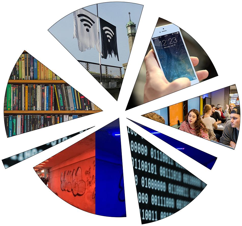Illustrasjon, collage av ulike foto som viser et mangfold av medier