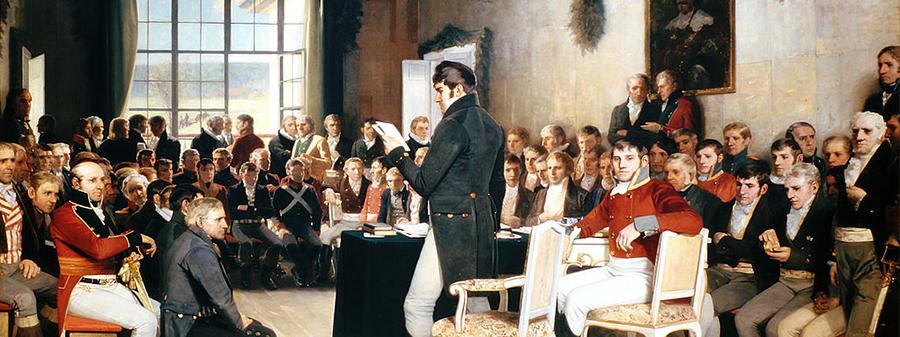 Maleriet Eidsvold 1814 av Oscar Arnold Wergeland.