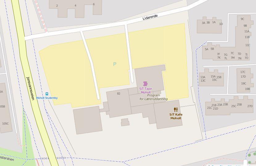 Kart over parkering på Moholt