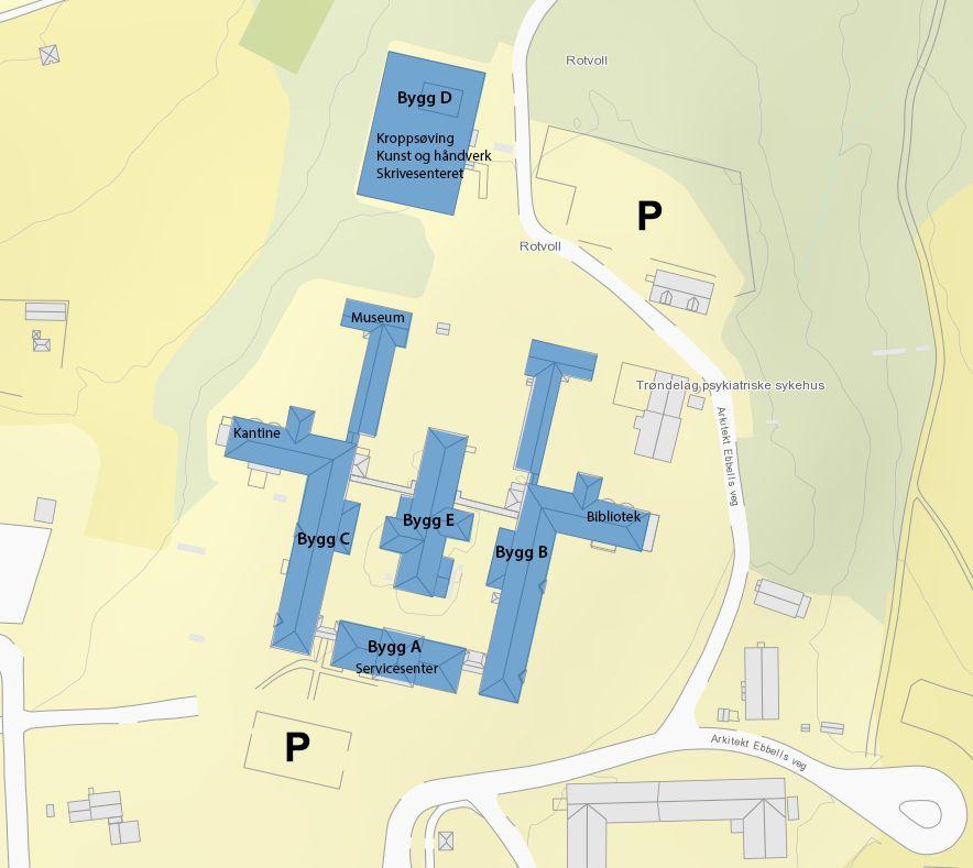 Kart med parkeringsområder på campus Rotvoll. Illustrasjon.