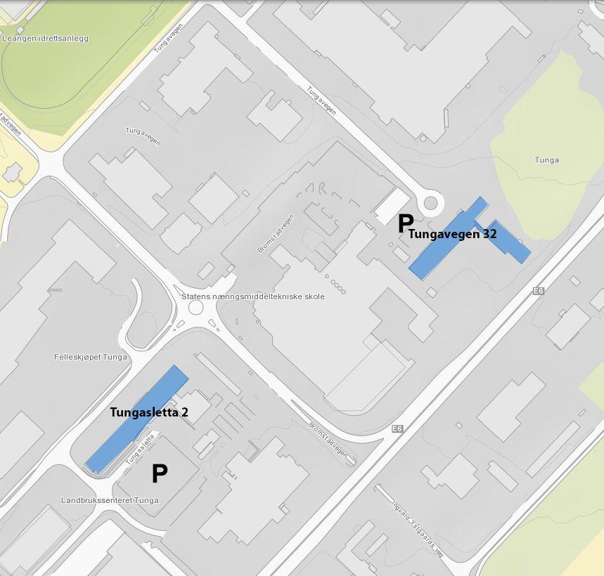 Kart med parkeringsområde for campus Tunga