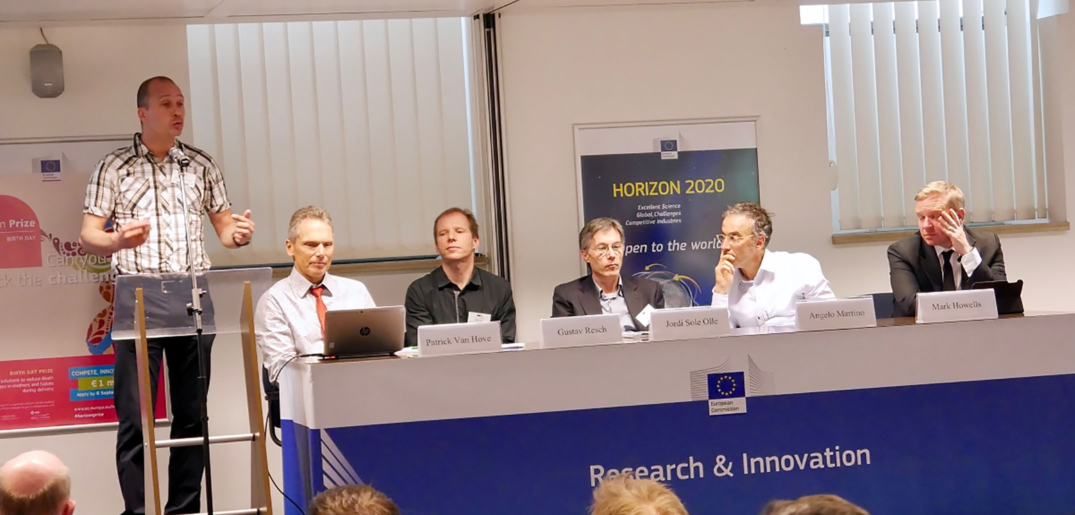 Panel discussion on insights from the Horizon2020 decarbonization projects. From the left: Ruud Egging, Patrick Van Hove, Gustav Resch, Jordi Sole Olle, Angelo Martino and Mark Howells