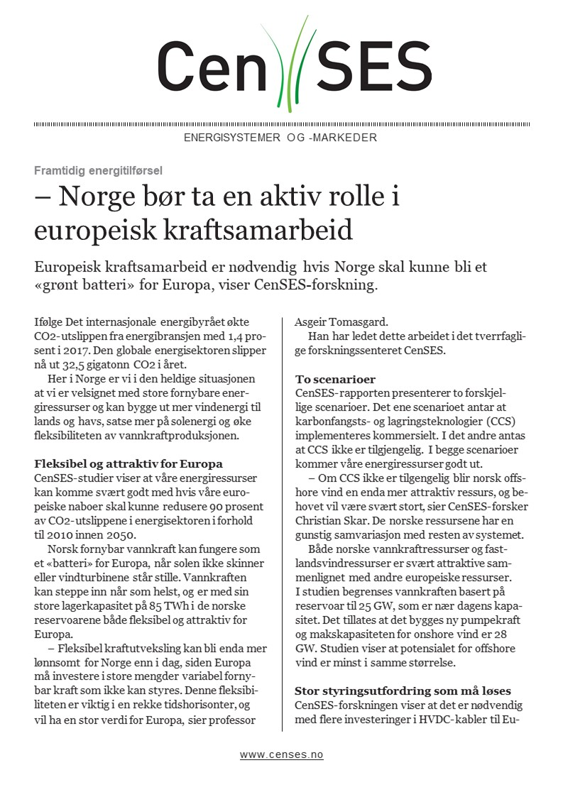 Kort oppsummert: Europeisk kraftsamarbeid - fleksibilitet i energisystemet