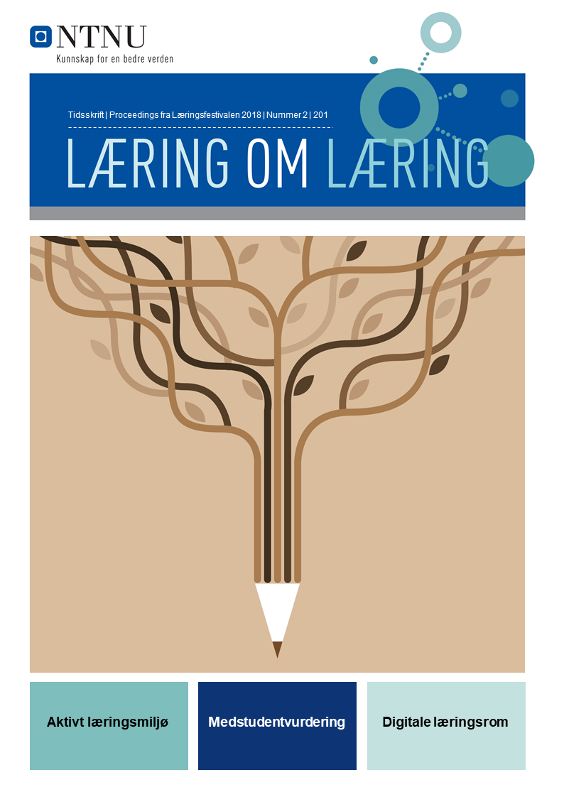 Forsiden til Læring om læring vol 2, med nøkkelordene Aktivt læringsmiljø, Medstudentvurdering og Digitale læringsrom